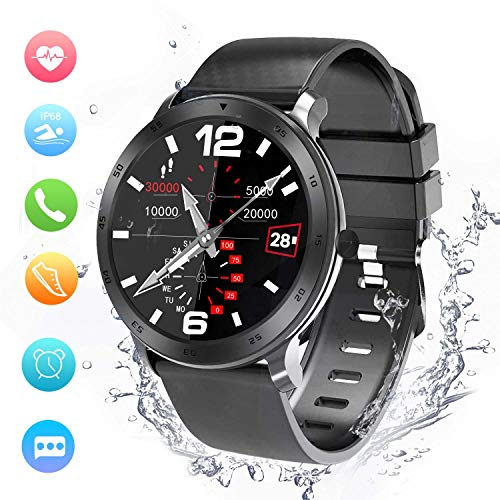 Smartwatch, Activity Tracker, Support Calling, Herzfrequenzmesser, Blutdruck- / Musik-Player, Remote Shot/Stoppuhr/Anti-Lost Kompatibel mit Android und IOS.(48mm)