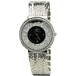 Women's Watch MICHAEL JOHN Black Quartz Steel Case Analogue Display Strass Steel Band Silver