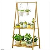 TX ZHAORUI Blumenständer Bambusfaltung kann aufgehängt Anlage Stützboden Balkon Wohnzimmer-Vitrinenwerksständer,70 * 43 * 129CM