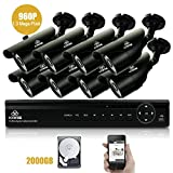 [1080p HD Output] SANSCO 8-CH 1080P DVR CCTV Security System with 8x Outdoor Cameras + 2TB Hard Drive Disk (1920X1080 Mega-Pixel, P2P Technology, Night Vision, Vandal and Weather Proof Casing, Black)