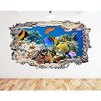 K039 Aquarium Fish Ocean Sea Coral Wall Decal Poster 3D Art Stickers Vinyl RoomKids Bedroom Baby Nursery Cool Livingroom Hall Boys Girls (Medium (52x30cm))