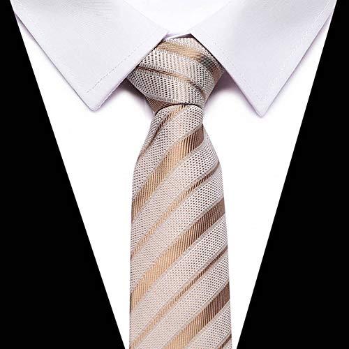 KYDCB Modische Mode Klassiker Herren Streifen Seidenkrawatte Schwarz Rot Weiß Orange Marineblau Lila Beige Grün Gelb Krawatte -
