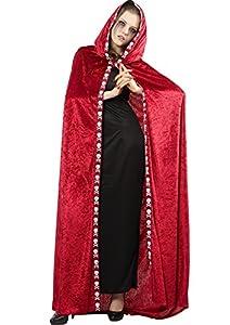 FIORI PAOLO Domino capa con capucha (terciopelo, rojo Taglia Unica rojo