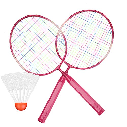 Alomejor Kinder Badmintonschläger mit Badminton Ball Federball Nylonlegierung Durable Professionelle Schläger Set für Kinder Outdoor Spielzeug Zwei Farben(Rosa)