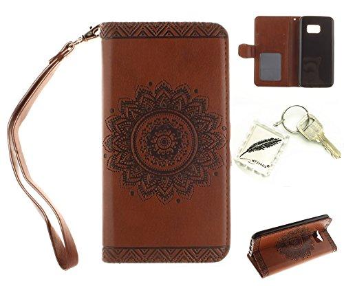 Silikonsoftshell PU Hülle für Galaxy S7 Edge (5,5 Zoll) Tasche Schutz Hülle Case Cover Etui Strass Schutz schutzhülle Bumper Schale Silicone case(+Exquisite key chain X1)#AN (1)