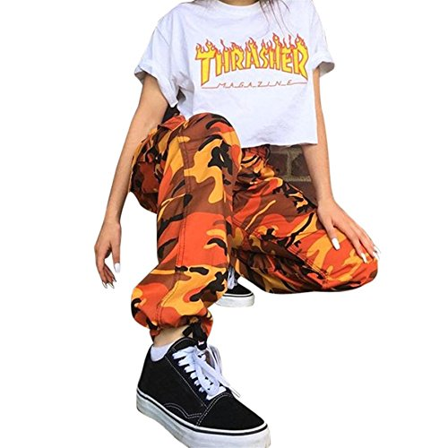Army Military Pants (❤️ BURFLY Frauen Sport Camo Cargo Hosen 2018 Neue Jugend Outdoor Casual Camouflage Hosen Jeans (S, Orange))