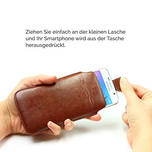 Original Urcover® Universal Schutzhülle [DEUTSCHER FACHHANDEL] Hülle Schale Pull Tab Etui Cover case Galaxy S7, S6, S6 Edge, iPhone 6 / 6s Grün Braun