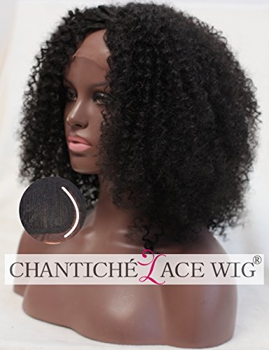 Chantiche Afro Kinky Curly perücken UK Best Synthetic Hair Glueless Lace Front perrücke for Black Women Natural Looking Heat Resistant Fiber Half Hand Tied 16 inches (Flat Perücke Top)