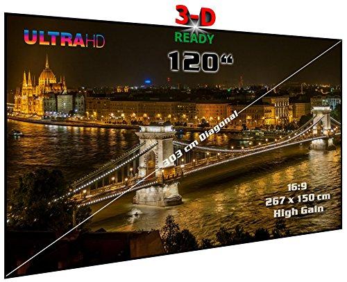 "Rahmenleinwand starr | 120"" (Ø = 305 cm), 16:9, 267 x 150 x 2 cm | Heimkino High Gain Hochkontrast Projektionswand auch für Passiv-3D | Typ ST-Flatscreen-HS"