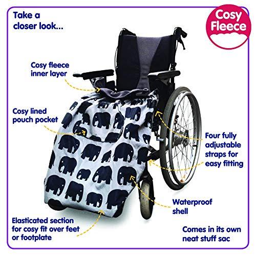 51tmWlPUwyL - BundleBean - Cosy - Saco impermeable para sillas de ruedas - Para adultos - Con forro polar - Universal Fácil de ajustar. Viene en una bolsa compacta para guardarlo cómodamente - Negro
