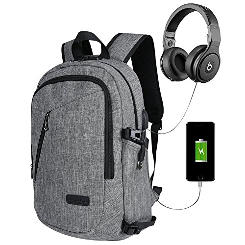 """15.6"""" Business Laptop Backpack with USB Charging ,Headphone cable Anti-Theft Port 35L Waterproof backpack Removable College Laptop Bag Satchel School Bag Grey (15.6 inch 35L, Grey)"""