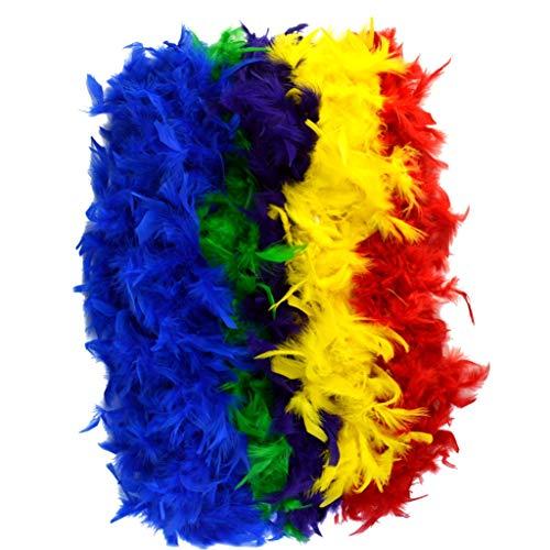 Gra Mardi Hunde Kostüm Für - Jerbro 5 Stück Boa Federn Federn bunt weich für Damen Mädchen Festa Glamour Kostüm Party Geburtstag Fasching Junggesellinnenabschied - 2 Meter