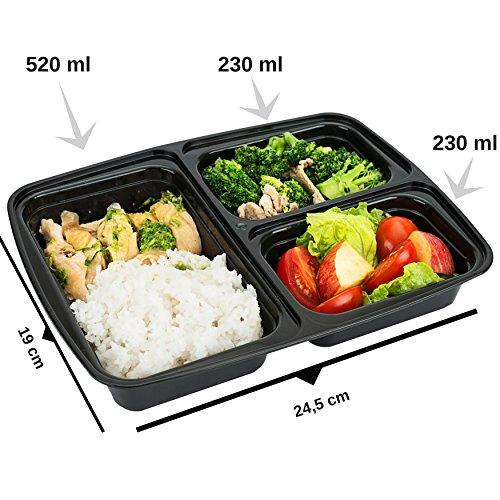 FITPREP® - DAS ORIGINAL [10er Pack] 3-Fach Meal Prep Container | stabil, verstärkt, qualitativ hochwertig, Zertifiziert | Für Meal Prep empfohlen | Modell: FP31-C - 4
