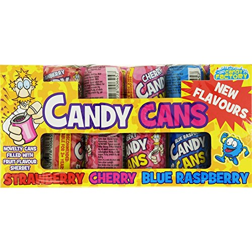 (36 Pack) Crazy Candy Factory Candy Cans Strawberry, Cherry, Blue Raspberry  - 36 x 13g  SUITABLE FOR VEGETARIANS