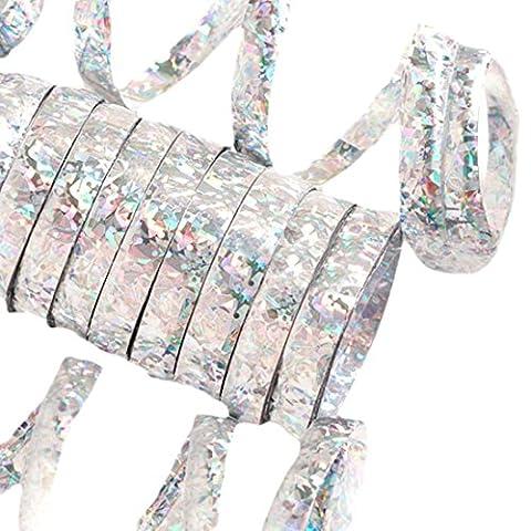 erdbeerloft - Partydekoration Glitter Luftschlangen 10 Einzel Rollen holographisch metallic funkelnd, Silber