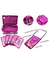 Atorakushon Necklace, Earrings Tops Studs Jewellery Organizer with 5 Pouch (Purple)