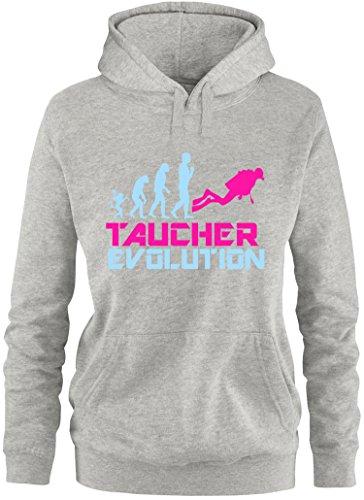 EZYshirt® Taucher Evolution Damen Hoodie Grau/Hellbl/Pink