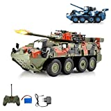 Leopard RC ferngesteuerter Kampfwagen Militärfahrzeug Panzer mit Reifen, Schusssimulation und Drehbarem Turm um 180°, Fahrzeug, Komplett-Set ink. Fernsteuerung, Akku und Ladegerät