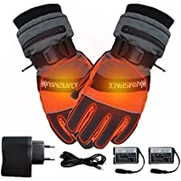 1 par de guantes de invierno, guantes térmicos calientes para hombres y mujeres, calentador de manos USB eléctrico, 4000 mAh Batería recargable Dedos calefactados Caja fuerte para trabajos al aire libre