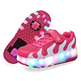 Garçon Fille LED Allumer Rouleau Double Roue Simple Skate Baskets Sport Chaussures Botte De Danse