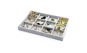 PuTwo Jewellery Organiser 12 Sections Lint Drawer Organiser Grey Jewellery Tray Handmade Jewellery Display Tray for Bracelets, Necklaces, Earrings, Rings