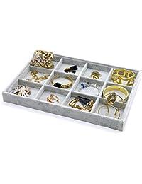 PuTwo Bandejas para joyas 12 secciones Caja de regalo Organizador Display Box Regalos de cumpleaños para ella