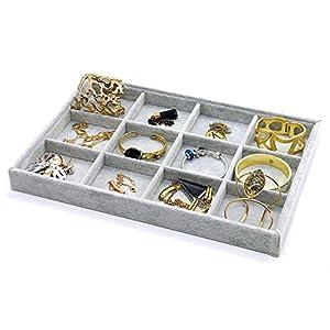 PuTwo Schublade Organizer Schmuck Halter Schmuck Organizer 12 Fächer Lint Jewellery Box Schmuckkästchen – Grau