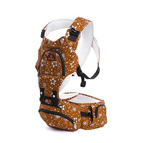 ZYT Multifunktionale atmungsaktiver reiner Baumwolle Baby Sling Taille Hocker die vier Jahreszeiten mit einer Mumie-Tasche Orange