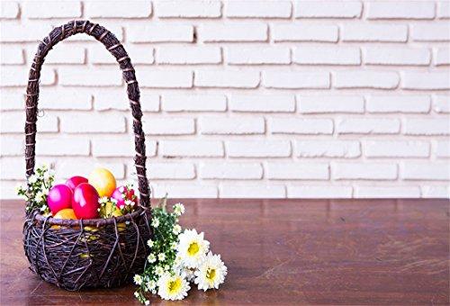 (YongFoto 3x2m Vinyl Foto Hintergrund Ostern Dekoration Bunte Ostereier Brauner Korb Blumen Fotografie Hintergrund für Photo Booth Party Fotostudio Requisiten)