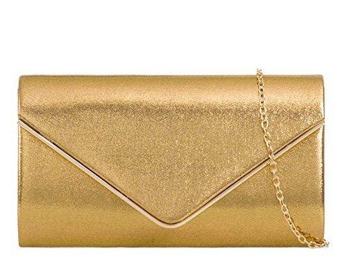 Gold Bands Hochzeit Damen (HAUTE FÜR DIVA'S DAMEN NEU GLÄNZEND SATIN METALLRAND KETTE BAND HOCHZEIT BALL ABEND CLUTCH HANDTASCHE PORTEMONNAIE - Gold, Small)