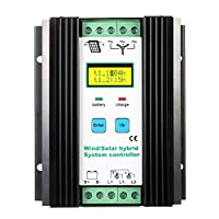 Anself LCD Wind Solar Hybrid Charge Controller MPPT Boost Charge 12/24V Auto Lighting Street Lamp Charging Controller 600W Wind + 400W Solar (600w) 16