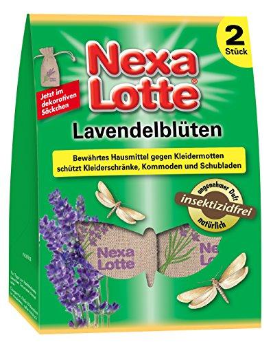 Nexa Lotte Lavendelblüten , Mottenschutz ,  Lavendelblüten gefüllt in dekorative Naturfasersäckchen zum Schutz vor Motten in Kleiderschränken, Schubladen und Truhen, 2 Säckchen