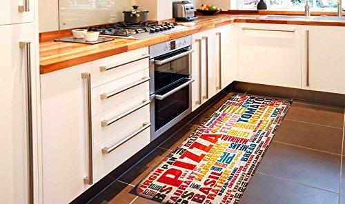 Passatoia antiscivolo tappeto cucina colorata kitch pizza 60x220 - Passatoia cucina antiscivolo ...