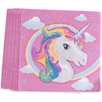 MagiDeal 20 Piezas Servilleta de Papel de Diseño Unicornio Mágico Fiesta Cumpleaños Proveedor Decoración