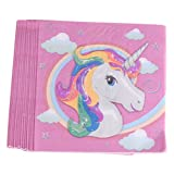 MagiDeal Baby Kids Unicorn Theme Party Birthday Decor Banner Gift Candy Boxes Tableware - 20pcs Paper Napkins, One Size