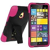 Amzer Coque hybride Double couche avec béquille pour Nokia Lumia 1320 Noir/rose vif