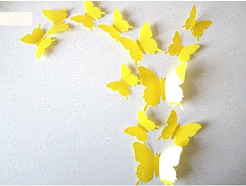 Clest F H 12pcs 3d Art Butterfly Decal Wall Sticker Home Decor Room Decoration Christmas Gift Yellow