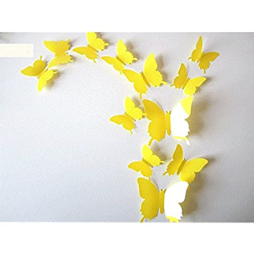Clest Fu0026H 12pcs 3D Art Butterfly Decal Wall Sticker Home Decor Room  Decoration Christmas Gift (Yellow)