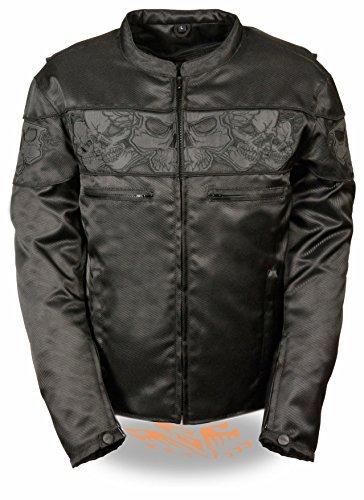 Milwaukee Leder Herren Reflektierende Skulls Textil Jacke (schwarz)