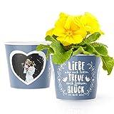 Facepot Glückwünsche zur Hochzeit - Blumentopf (ø16cm) Hochzeitsgeschenk für Brautpaar, standesamtliche und kirchliche Trauung mit Bilderrahmen für zwei Fotos (10x15cm) - Liebe Treue Glück!
