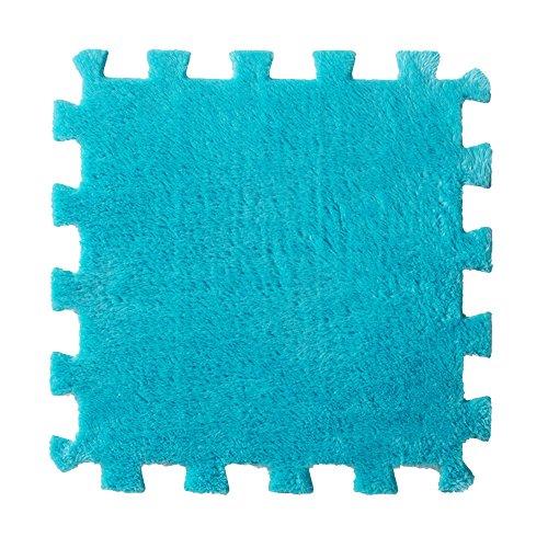 Alfombras infantiles bebé,Culater Multicolor Peludo Estera suave de la alfombra del remiendo (Azúl)