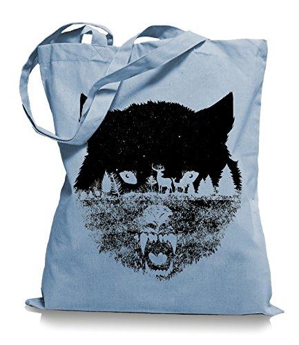 Ma2ca Wolf Forrest Stoffbeutel |Rettet die Wölfe Tragetasche -skyblue