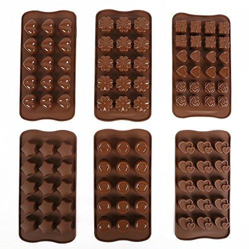Triplespark Lebensmittelqualität Sicherheit Silikon Schokolade Formen Pralinenformen Kuchen Dekorieren Süßigkeiten Cookies Backformen Eisformen (6er Set)