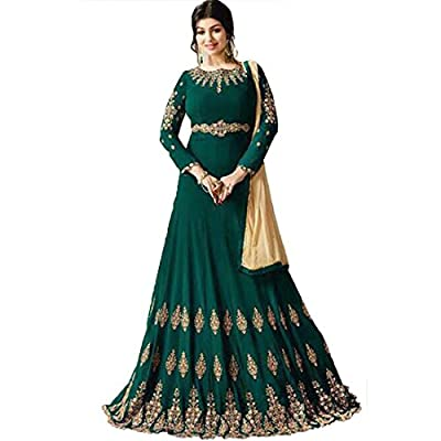 Generic Women's Georgette Semi Stitch Salwar Suit (Ethnic_ER11087_Green_Free Size)