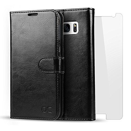 OCASE Cover Samsung Galaxy S7 in Pelle, con Magnete e Supporto Orizzontale [una pellicola protscttiva gratuitamente]-Nero