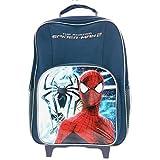 Producto oficial de Amazing Holiday 2 Boys Spiderman Premium de maletas para niños bolsa de viaje para equipaje con cable de carrito de flores saliendo de un la vuelta al cole