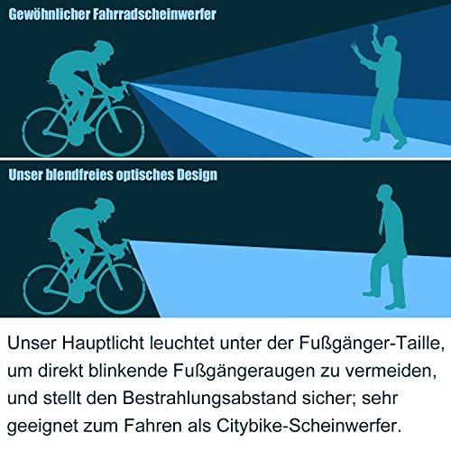 MACHFALLY Fahrradbeleuchtung, Fahrrad Licht LED USB Set mit Automatisch Einstellbarer Helligkeit, Wasserdichte Fahrradlampen inkl. Frontlicht und Ruecklicht , 1200 mAh Akku-Fahrradlampen fuer Kinder- , Herren- und Damenraeder (Frontlicht&Ruecklicht Set) - 6
