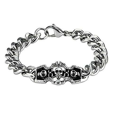 AnazoZ Homme Tempérament trois têtes de mort en acier inoxydable Argent Noir Bracelets de chaîne à maillons
