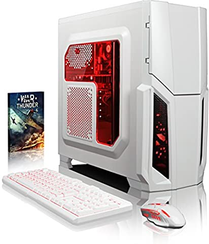 VIBOX Gaming PC - Pyro GS810-257 - 4.2GHz AMD FX 8-Core CPU, GT 710 GPU, Budget, Desktop Computer with Game Bundle, Red Internal Lighting and Lifetime Warranty* (Super Fast AMD FX 8300 Eight 8-Core CPU Processor, Nvidia GeForce GT 710 1GB Dedicated Graphics Card GPU, 16GB DDR3 1600MHz High Speed RAM Memory, Super Fast 120GB Solid State Drive SSD, 2TB (2000GB) Sata III 7200rpm Hard Drive HDD, 85+ Rated PSU Power Supply, CIT Storm White Case, AM3+ Motherboard, No Operating System Installed)