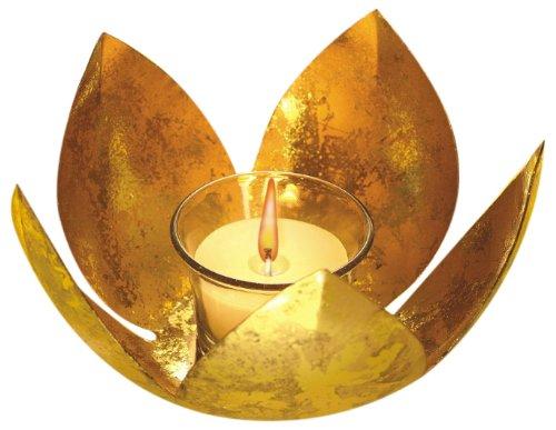 Borosil Lotus Tea Light, 14.5cm, Gold